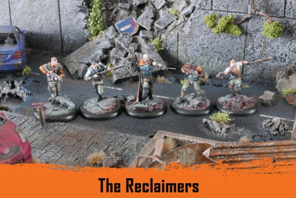 The reclaimers. From left to right: a collector with assault rifle, a protector with shotgun and light armor, an expedition leader with sword and assault rifle, a collector with assault rifle and underslung grenade launcher and a pathfinder with SMG and bat.