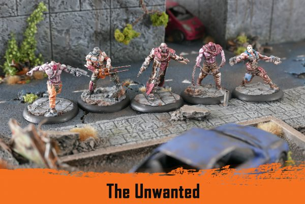 The Unwanted. From left to right: a Brawler with assault rifle, an Executioner with drill, a Hatemonger with flamer and fighting claw, an Executioner with chain and an Experiment with pistols with mounted shanks.