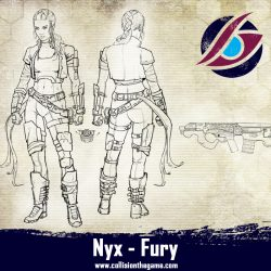 Nyx fury armed with a carbine. She gives the gang lethal medium ranged fire support.