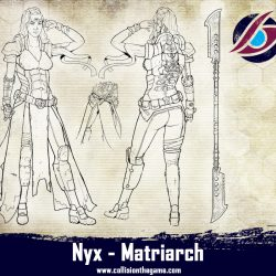 The Matriarch armed with a glaive. She is one of the rare few people how have been developing strange powers which she can amplify with her collider.