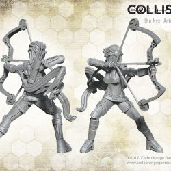 The Artemis wields a composite bow to give the rest of her team some long range fire support. Ideal to face the horrors of the world of Collision.