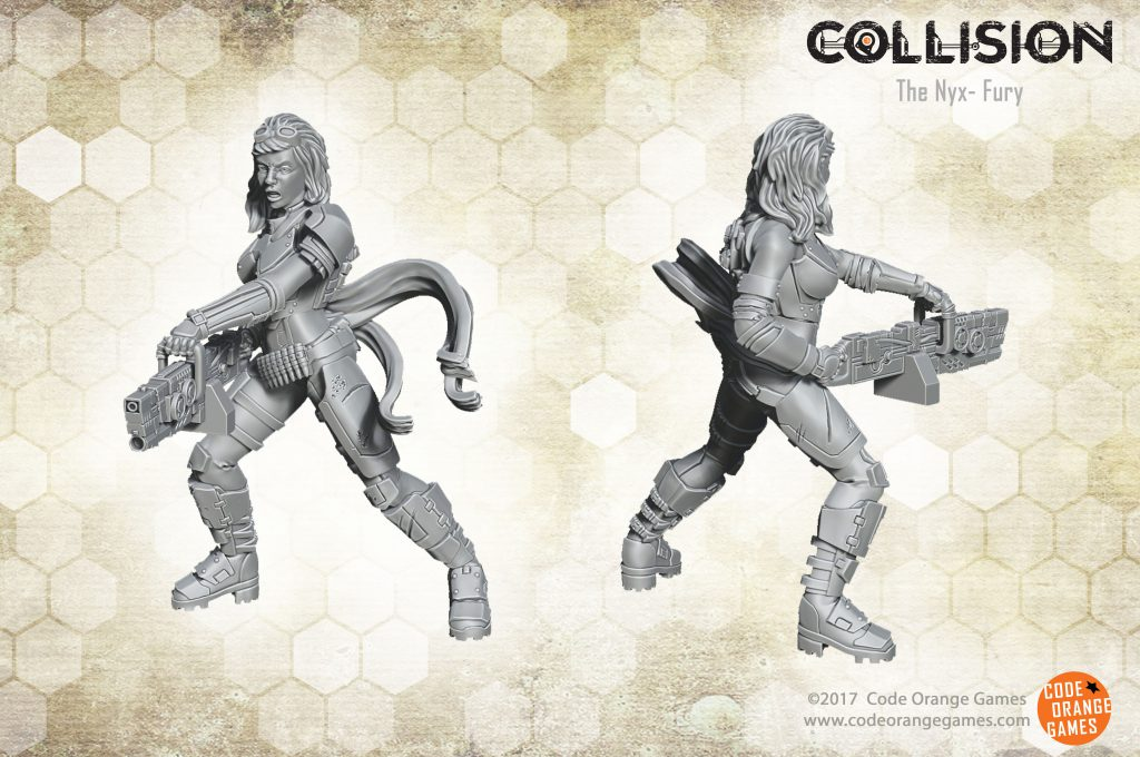 Today we reveal a new Nyx model; the Nemesis! This is the third model in the Nyx range for our post-apocalyptic skirmish game Collision. The Nemesis is a heavy weapon specialist for the Nyx. Armed with LMG en armor she is a powerful addition to the Nyx faction. She is armed with a LMG, which is perfect to give her squad mates some covering fire. She can also use her weapon lay down a rain of bullets to suppress the enemy. This gives the other Nyx the time to outflank the enemy and attack them at their weak spots. The Nemesis herself is equipped with armor to make sure she can survive a punch herself.
