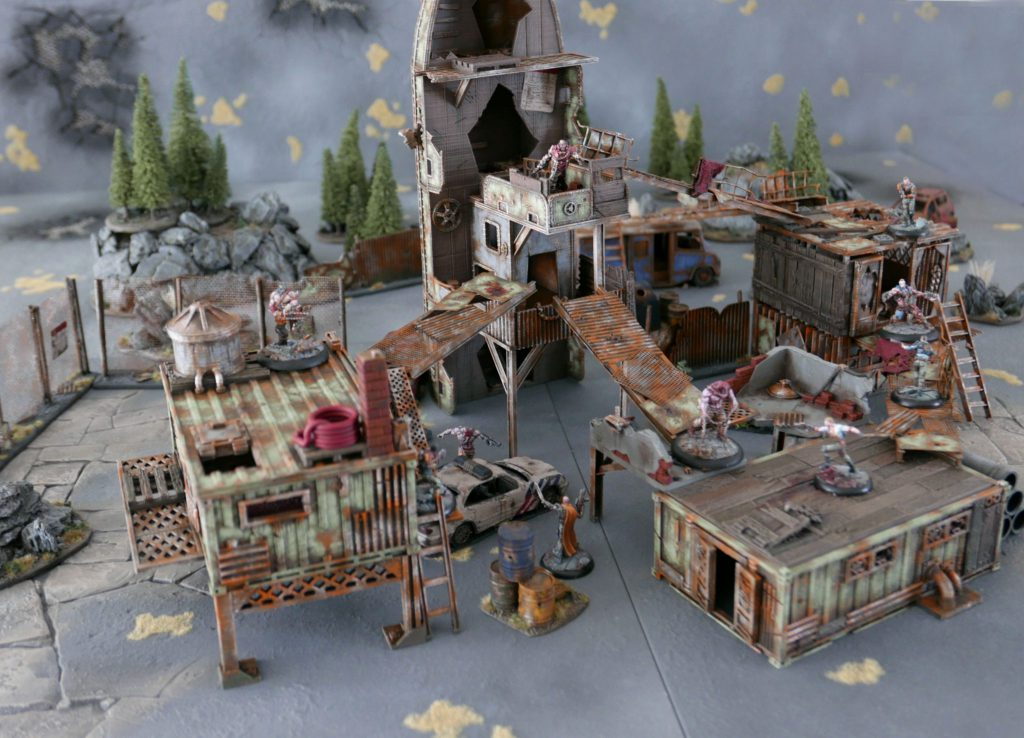 This is the 'Unwanted settlement' demo table for the post-apocalyptic miniature skirmish game Collision by Code Orange Games